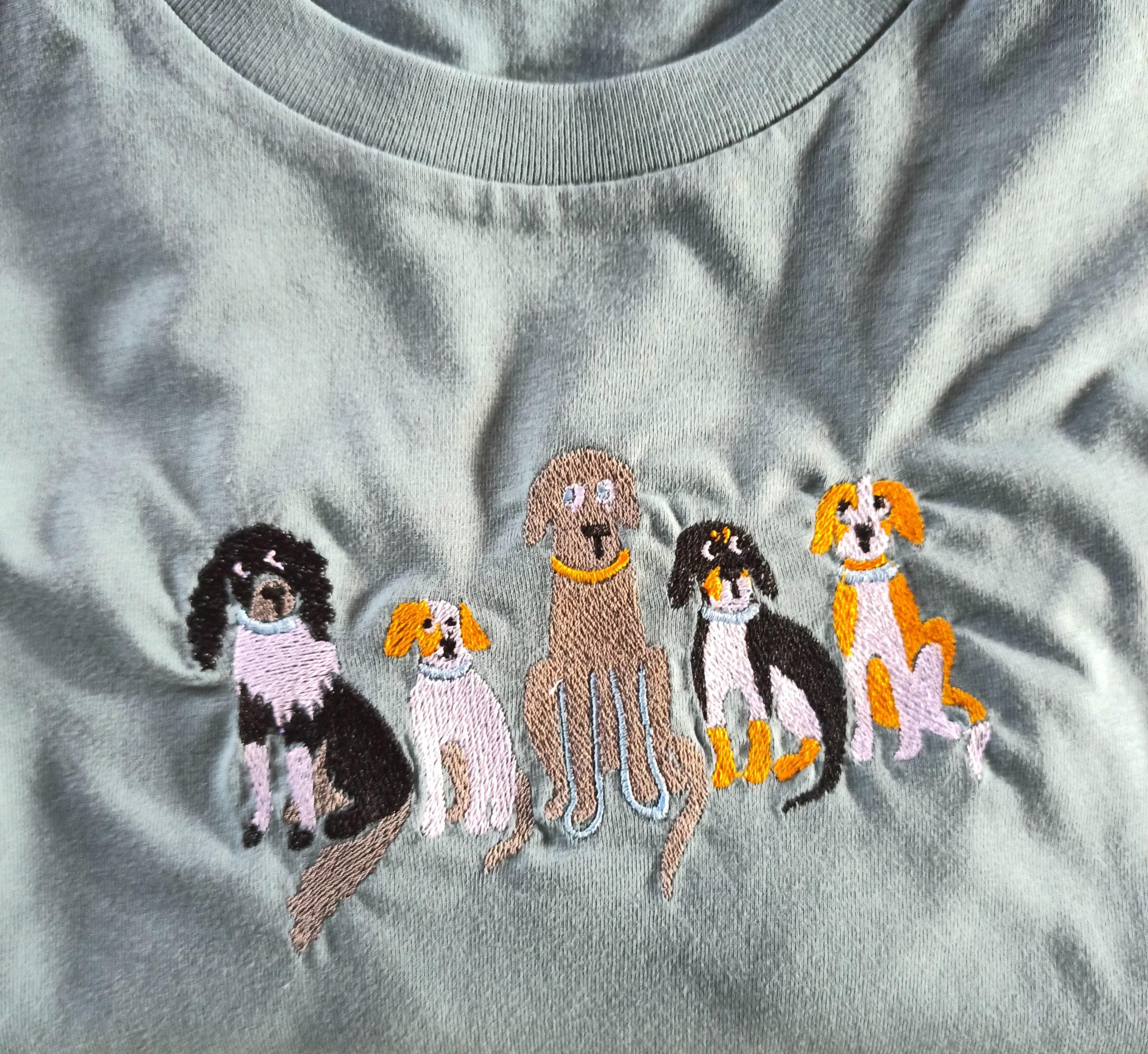 Broderie 5 chiens