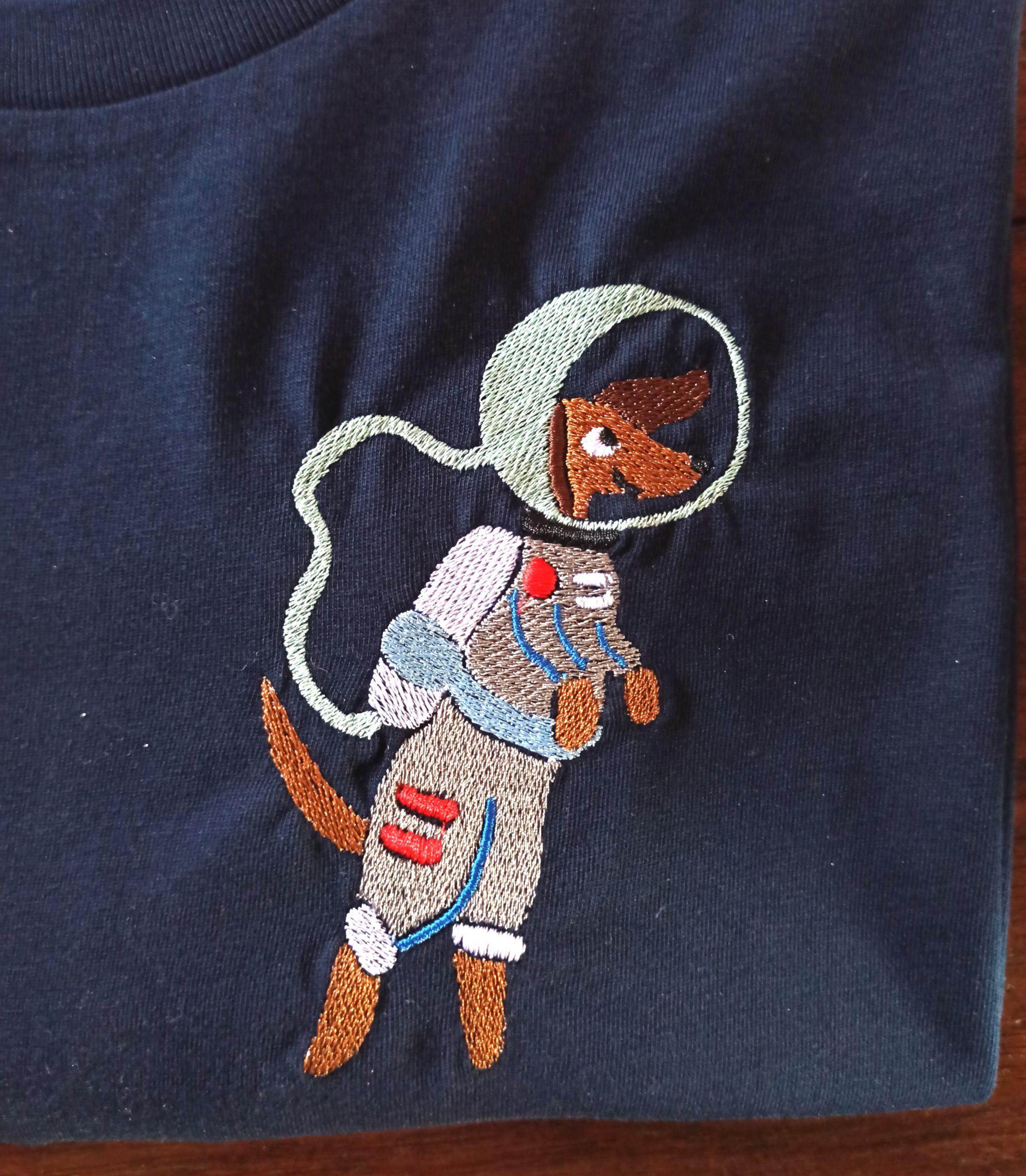 Broderie Teckel cosmonaute